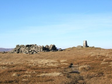 The triangulation point and old shelter on the summit of Cairnsmore of Fleet