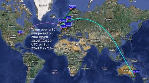 20m WSPR 13.20 - 14.20 UTC on 22.5.11