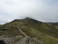 Looking back to Beinn Ghlas as Bob starts final push