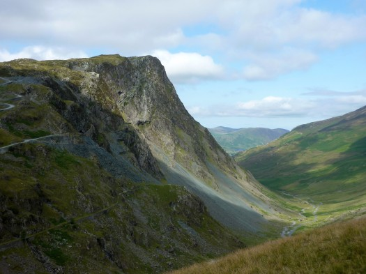 Looking down Honister Pass