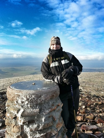 Roddy IOB at summit cairn