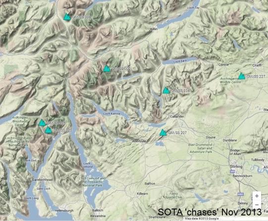SOTA 'chases' Nov 2013