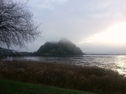 Dumbarton Rock in the early mist